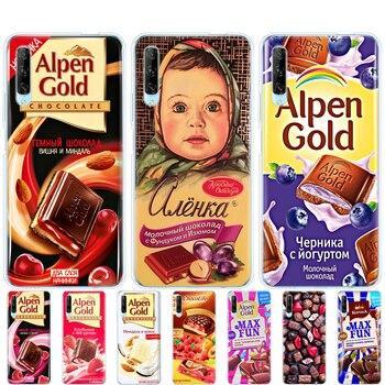 Перейти на Алиэкспресс и купить Силиконовый чехол для телефона huawei p40 lite E p40 pro Чехол для huawei Y7P Y6S Y9S NOVA 5T alenka bar wonka шоколад
