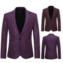 Мужские костюмы бизнес блейзер мужчины Slim-подходят мужские пиджак костюм формальные мужчины дизайнерская одежда лето вертикальная полоса пальто