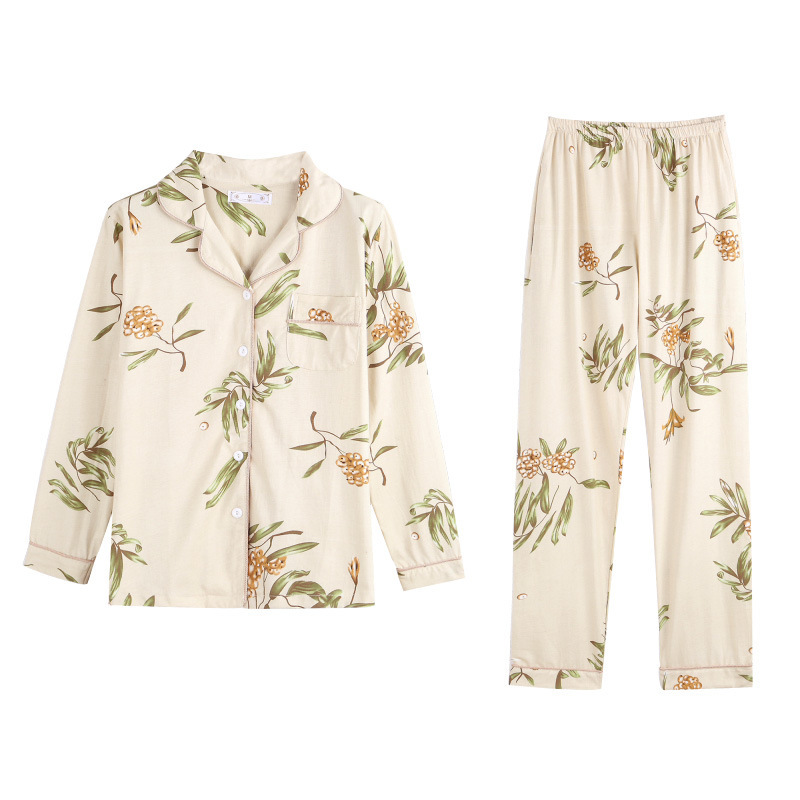 Spring New Ladies Pajamas Set Cartoon Banana Leaves Printed Women Comfort Loose Homewear Large Size  Sleepwaear sexy pajamas
