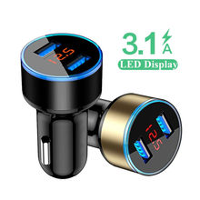 3.1A LED Display Dual USB Car Charger Universal Mobile Phone Car-Charger for Xiaomi Samsung S8 S9 iPhone X 6 6s 7 8 Plus Tablet(China)