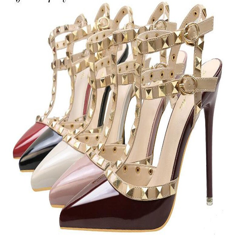 2019 Fashion Pumps Shoes Sexy Pointed Toe Rivet Women Shoes Thin Heels Hollow Super High Heel Shoes .ZWM-9616