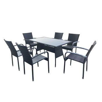 SOKOLTEC Modern Outdoor Garden Terrace Rattan Living Room Tables and Chairs Dining Room Furniture Set OP2454