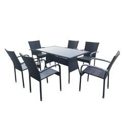 SOKOLTEC moderne extérieur jardin terrasse rotin salon Tables et chaises salle à manger ensemble de meubles OP2454