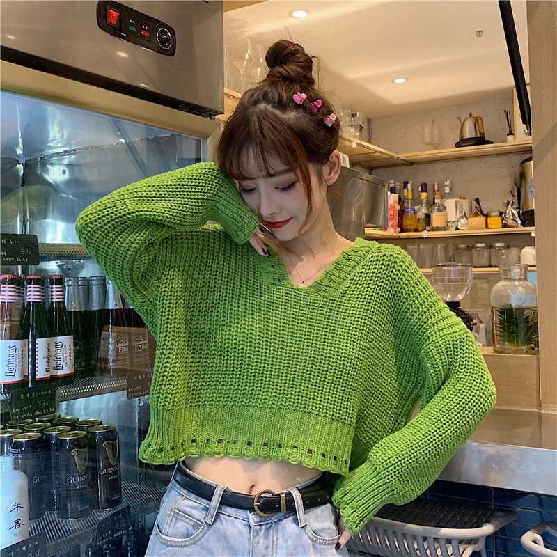 Focal20 Streetwear Solid Hollow Out Women Sweater Crop Top V Neck Female Pullover Jumpers Loose Autumn Lady Crop Sweaters Tops 1