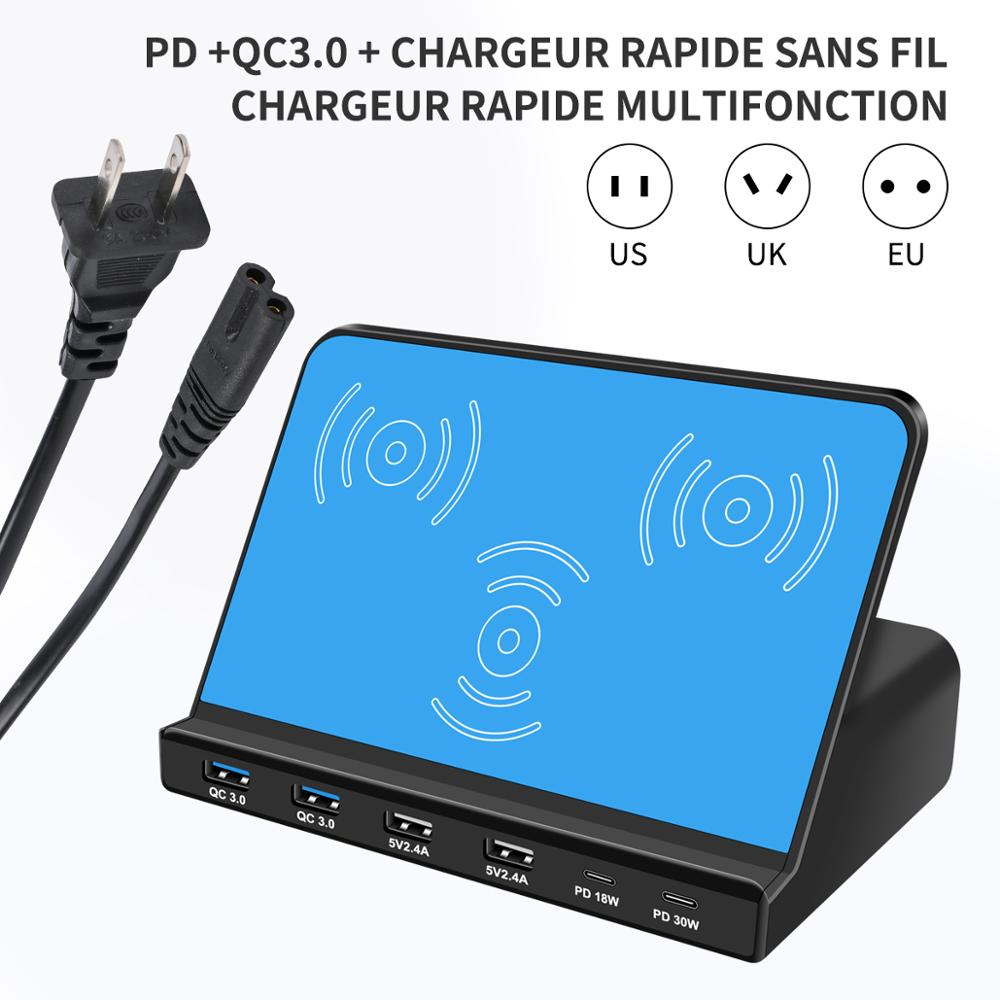 Wireless USB <font><b>charger</b></font> PD <font><b>100W</b></font> smartphone pad charging output 2 Type-C 6 port 2 USB-A dual QC 3.0 <font><b>fast</b></font> charging 18W 30W adapter image