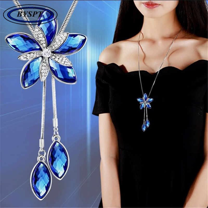 BYSPT Women Pendant Necklaces Flower Necklace Female Long Winter Sweater Chain Pendant Accessories