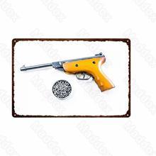 Постер с металлическим каркасом, водонепроницаемый плакат с оружием чернил, желтый пистолет, военный фанат, Ретро Живопись для спальни, рос...
