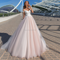 Glamorous Pink Wedding Dresses with Appliques 2020 Sweetheart Off Shoulder Tulle Bridal Gowns Sleeveless Corset Back Bride Dress