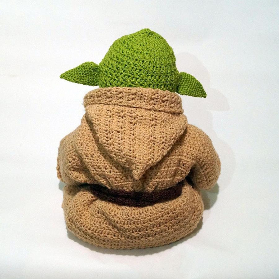 Yoda Style Newborn Infant Baby Photography Prop Crochet Knit Costume Set Handmade Toddler Cap Outfits for Baby Shower Gift (2)