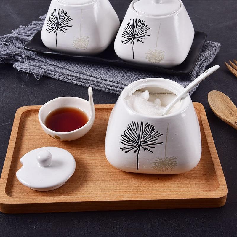 сахарница 3 шт./компл. керамическая чаша для сахара Очаровательная Ручная роспись Цветочная банка для специй с крышкой Ложка для домашней кухни принадлежности для приправа банка|Сахарницы и креманки|   | АлиЭкспресс