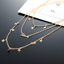 Bohemian Fashion Style European and American Five-pointed Star Love Letter Female Multi-layer Necklace Layered