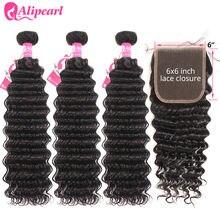 AliPearl cheveux vague profonde 3 paquets avec 6x6 fermeture HD Transparent dentelle fermeture brésilien cheveux humains paquet avec fermeture AliPearl