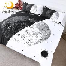 Blessliving 지구 전구 침구 블랙 화이트 세련된 이불 커버 낮과 밤 침대보 별자리 태양과 달 침대 세트 3pcs