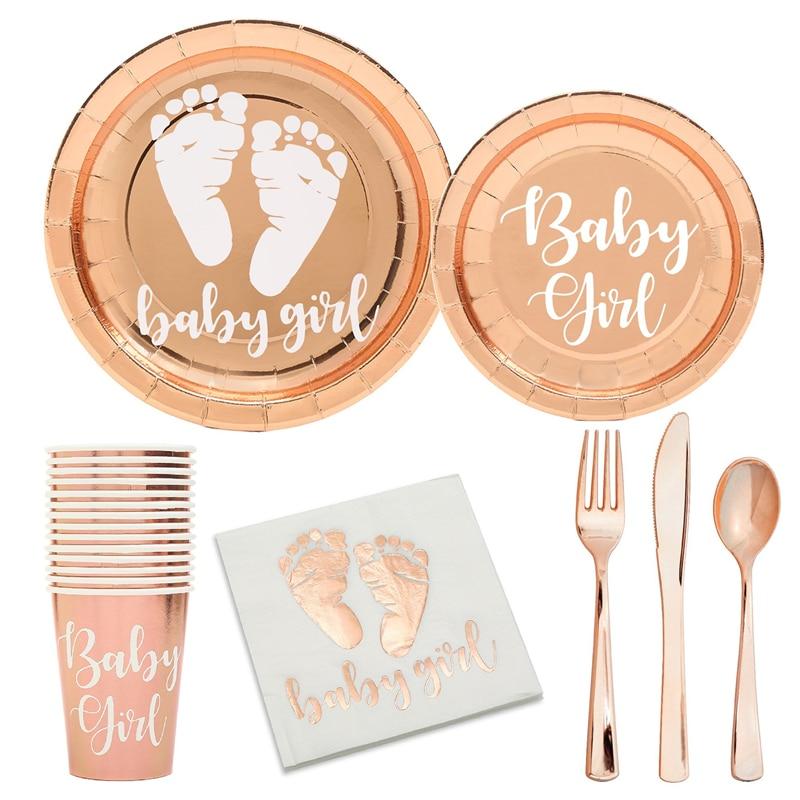 Роза бумажные золотистые тарелки для маленьких девочек Baby Shower вечерние украшения это девочка Пол раскрыть вечерние одноразовая посуда