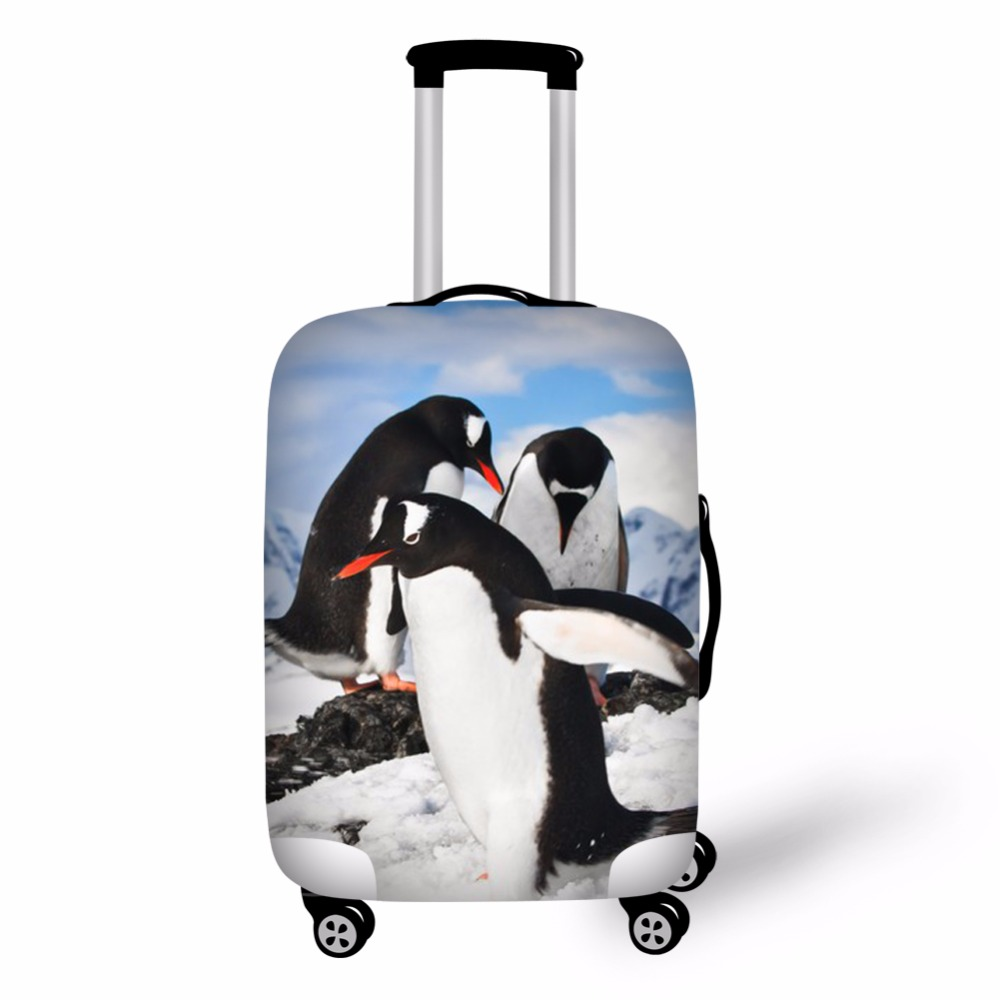 THIKIN Animal Penguin Stretch 18-30inch Travel Suitcase Cover Fashion Luggage Protective Cover Custom Dustproof Suitcase Cover