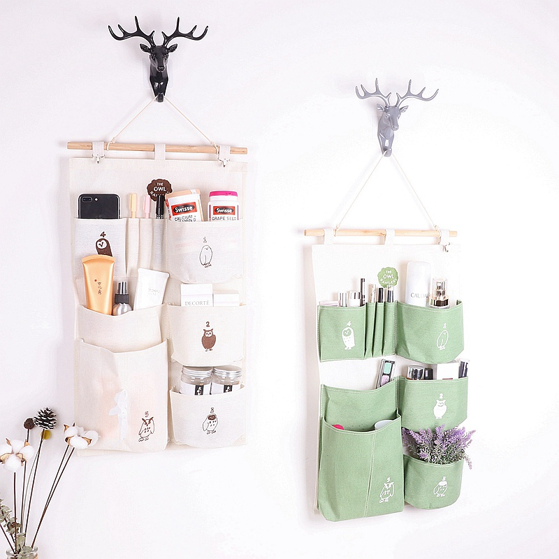 7 Pockets Hanging Bag Linen Storage Organizer Closet Wall Hanging Bags Wardrobe Cosmetic Organizer Pouch Mounted Jewelry