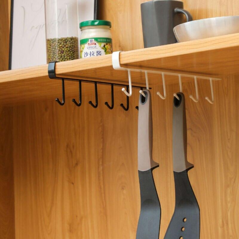 6 Hooks Metal Under Shelf Mug Cup Cupboard Kitchen Organiser Hanging Rack Holder Wrought Iron Seamless Nail-Free Hook