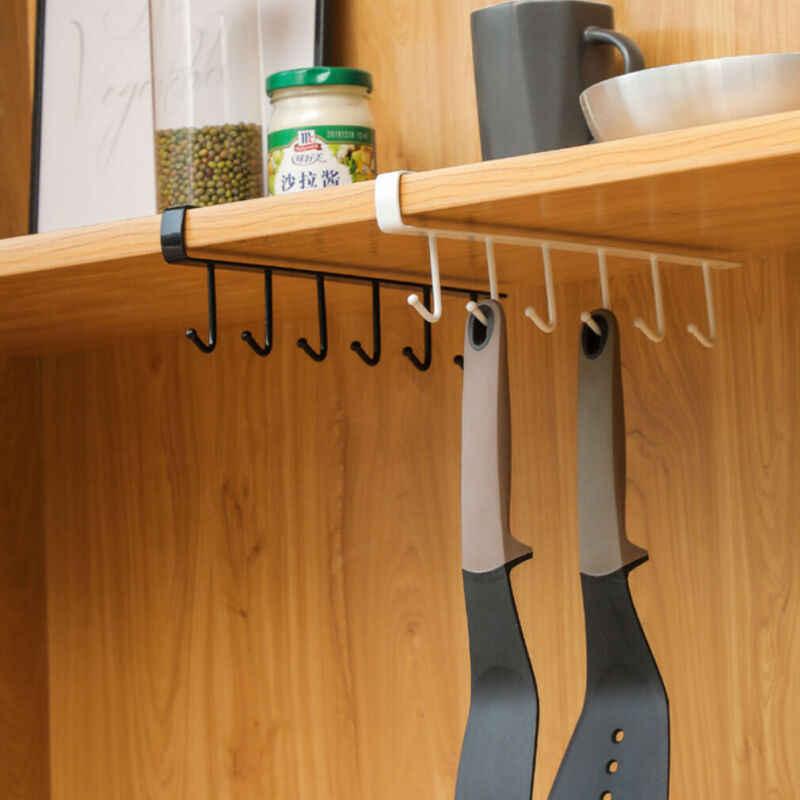 6 haczyki metalowe pod półką kufel kubek szafka kuchenna organizer wiszący wieszak kutego żelaza gwóźdź gładki hak