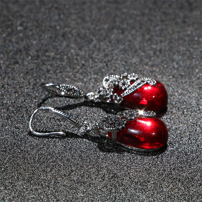Hb8b2edce345d4f41b07d47413a83abaai - Cellacity Vintage Silver 925 Jewelry Water Drop Shaped Gemstones Earrings for Women Emerald Ruby Ear drops Temperament Party