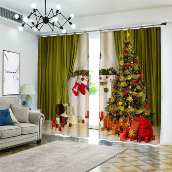 3D Christmas tree Stereoscopic Printing Curtain Luxury Curtains For Bedroom Classic 3D Curtains Window Bedroom Curtains Decor