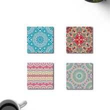 Decorative Indian Pattern Wooden Coaster 4'lü Set