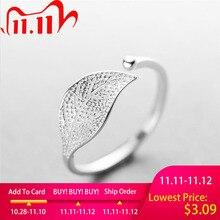 ใหม่ 925 เงินสเตอร์ลิงSimple Leaf/แหวนหญิงขนาดเล็กสดLeafแหวนปรับForefingerแฟชั่นเงิน 925