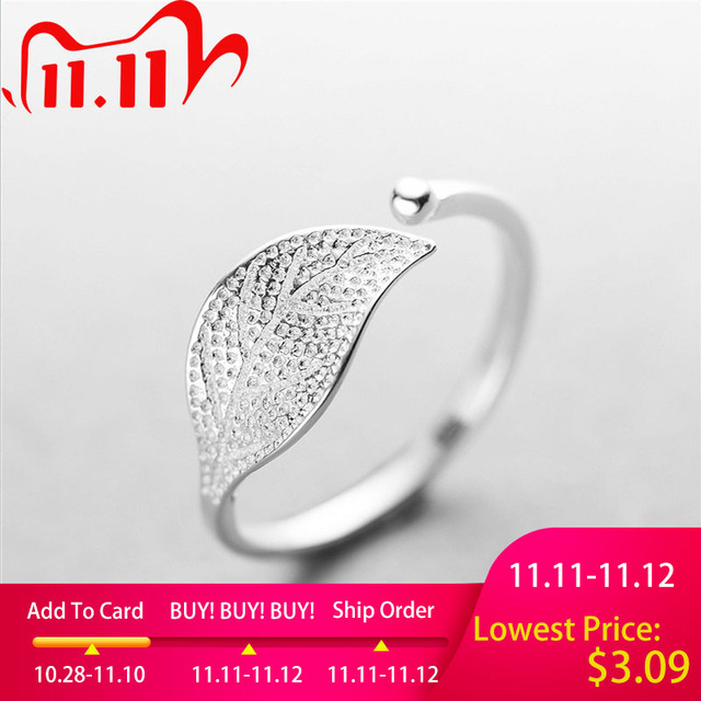 New 925 Sterling Silver simple leaf/cross ring female small fresh leaf rings adjustable forefinger fashion silver 925 jewelry