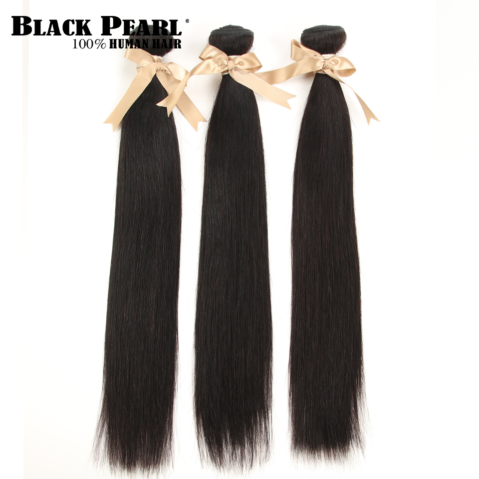 Black Pearl Hair Brazilian Straight Human Hair 3 Bundles Deal  8-30 Inches  Hair Weave Natural Color Non Remy Hair