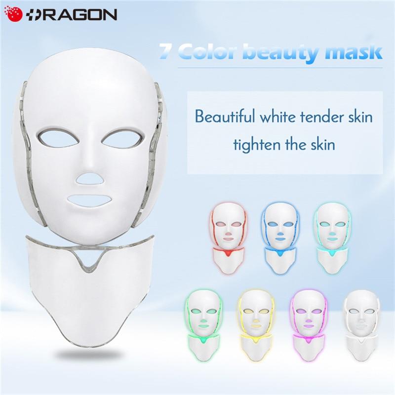 LED Facial Mask 7 Colors Led Korean Photon Therapy Face Mask Machine Light Acne Mask Neck Beauty Led MaskFace Skin Care Tools