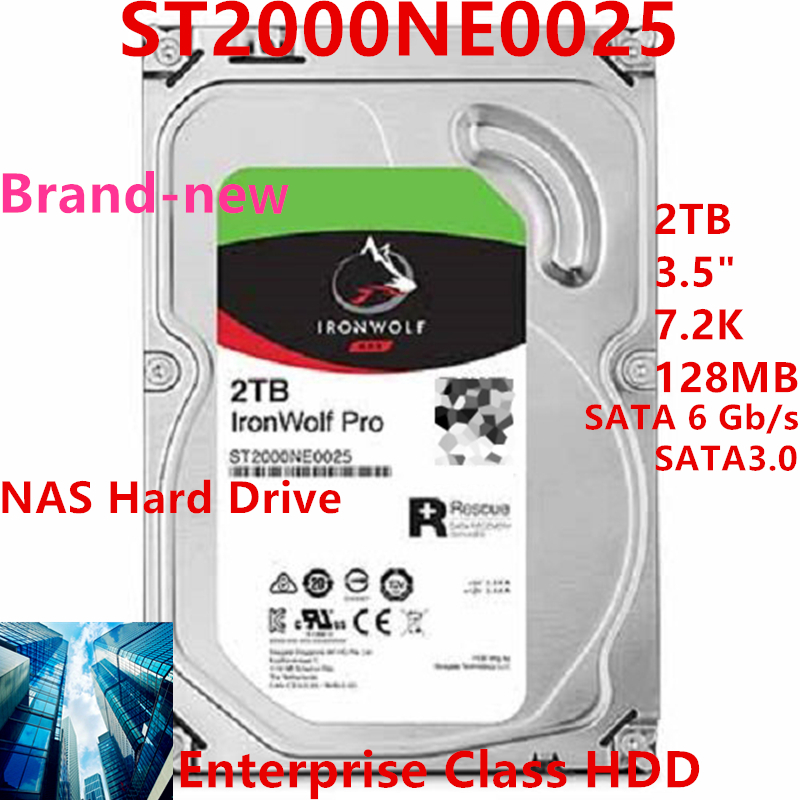 """New HDD For Seagate Brand IronWolf Pro 2TB 3.5"""" SATA 6 Gb/s 128MB 7200RPM For Internal HDD For EnterpriseHDD For ST2000NE0025 1"""