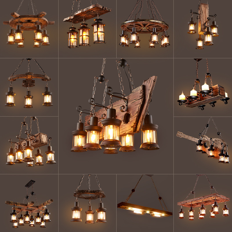 Loft Vintage Restaurant Chandelier Imitation Ship Wood Chandelier Indoor Industrial Restaurant Light Fixture E27 110V 220V 230V
