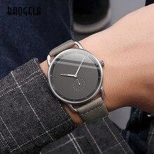 Baogela mode Simple montres à Quartz pour hommes Ultra mince montre-bracelet analogique homme bracelet en cuir étanche 1806