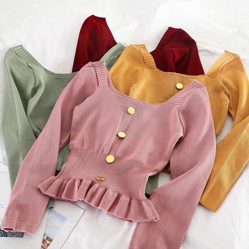 Women's Dress Knitted Ruffles Hem Ladies Pullovers Top Solid Square Neck Long Sleeve Female Sweaters Buttons Slim Waist Clothes