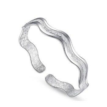 Women Shiny Ripple Whirl Bracelet Jewelry 925 Silver Jewelry