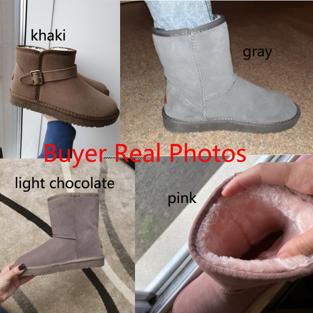 Genuine Leather Fur Snow Boots for Women