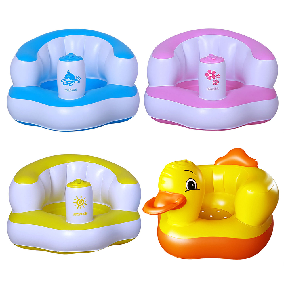 Cartoon Baby Inflatable Sofa Chair PVC Kids Cute Learning To Sit Seat Stool