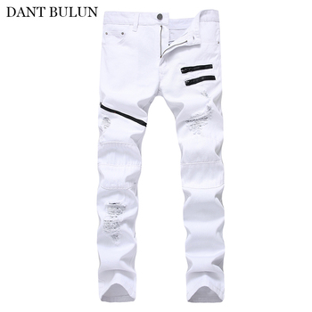 Straight Ripped Jean For Men Slim Scratched  Zipper Pocket Decorate Trousers Hip Hop Denim Pants Casual Distressed Black Jeans hot 2019 fashion casual jeans denim leg zipper hip hop locomotive distressed dance boys biker jeans ripped holes men s trousers