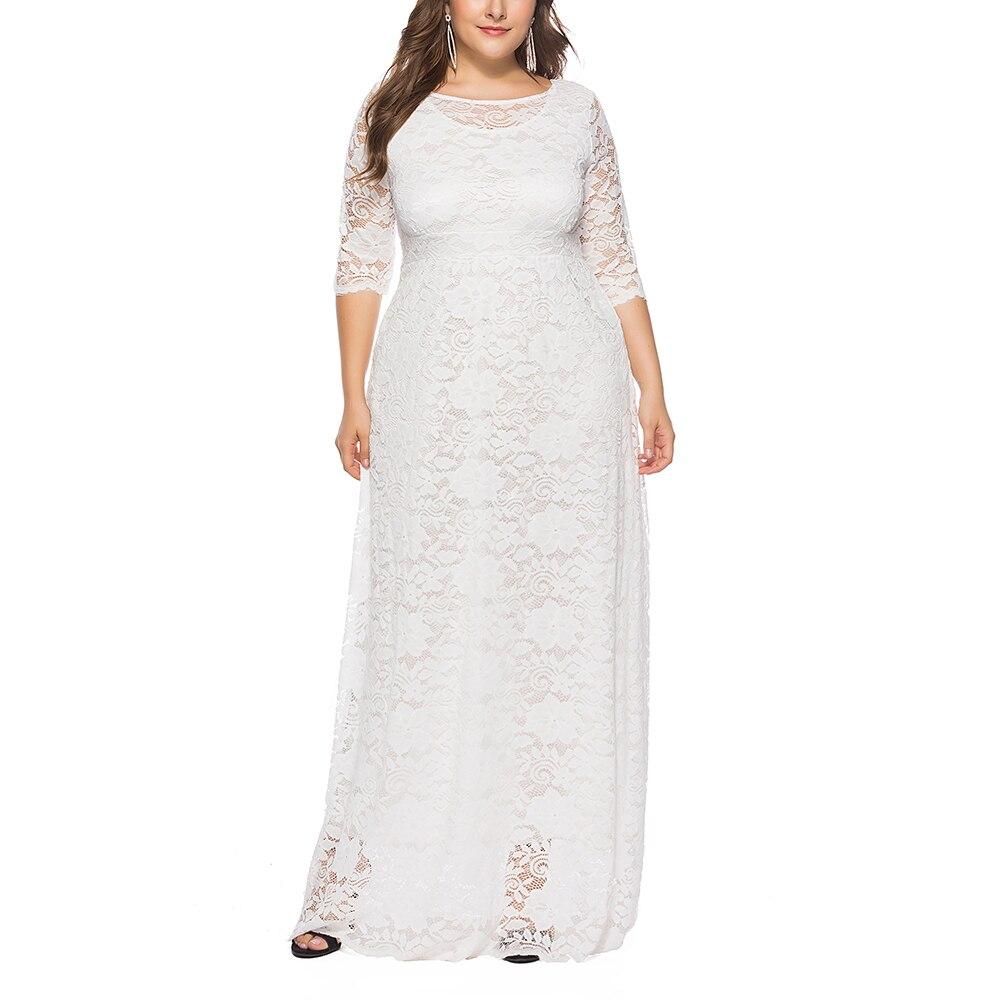 5XL 6XL grande taille femmes Maxi dentelle robe rétro o-cou 3/4 manches vêtements 2018 automne grande taille robes évider robes de soirée