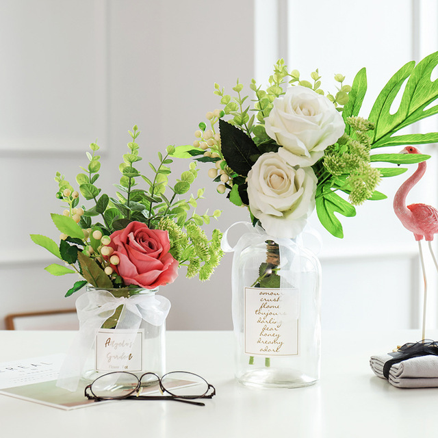 Modern Creative Glass Vase Ornaments Home Furnishing Crafts Office Table Bouquets Flower Pot Wedding Decoration 4