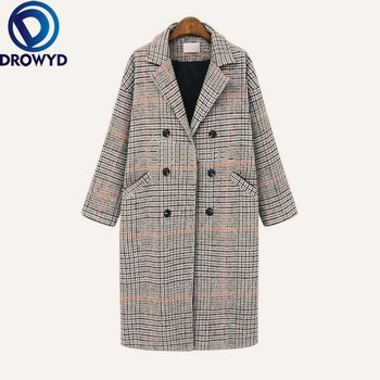 Winter Wool Coats Women New Fashion Plaid Print Double Breasted Jackets Women Elegant Long Sleeve Loose Thicken Coats Female 5XL fashion women wool coat plaid classics female loose long single breasted coats 2020 autumn winter jackets trench outerwear