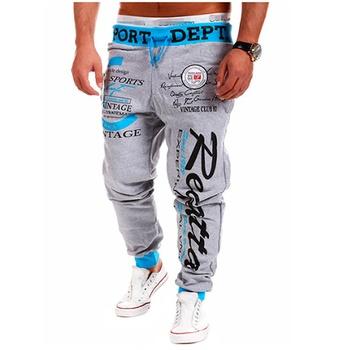 Męskie spodnie dresowe Jogger Fitness męskie odzież sportowa odzież sportowa spodnie obcisłe spodnie dresowe drukowane siłownia spodnie dresowe tanie i dobre opinie TiLeewon CN (pochodzenie) Mieszkanie Poliester PATTERN Luźne xz-k0010 Na co dzień Midweight Suknem Pełnej długości