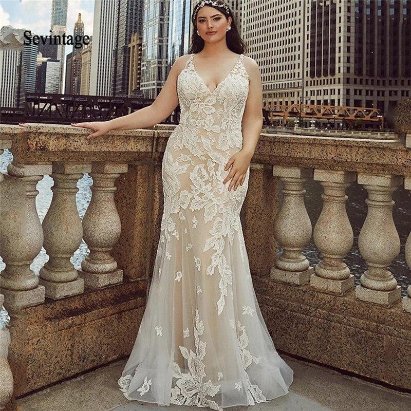 Sevintage Robe De Mariee Plus Size Mermaid Wedding Dresses ...