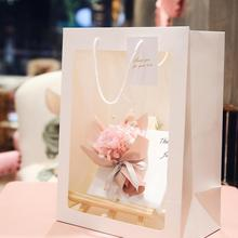 5Pcs Fashion Transparent Christmas Gift Bag Flower Wedding Present Storage Pouch Handbag with Handle