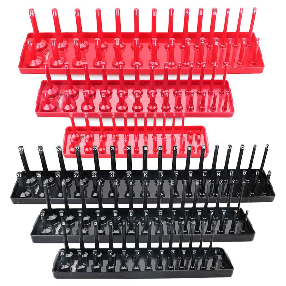 3PCS/Set 1/4'' 3/8'' 1/2'' Socket Organizer Sleeve Holder Garage Storage Tool Metric SAE Plastic Home Tools Rack Tray Organizer
