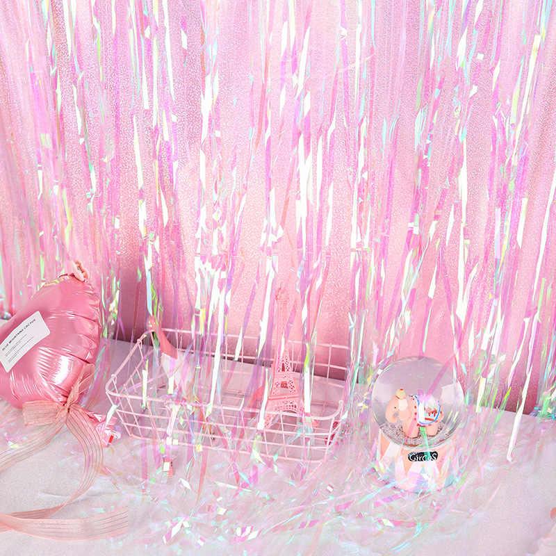 1M 2M 3M, cumpleaños, boda, telón de fondo, cortinas, brillo dorado, franja de oropel, cortina de aluminio, decoración de fiesta, decoración de aniversario