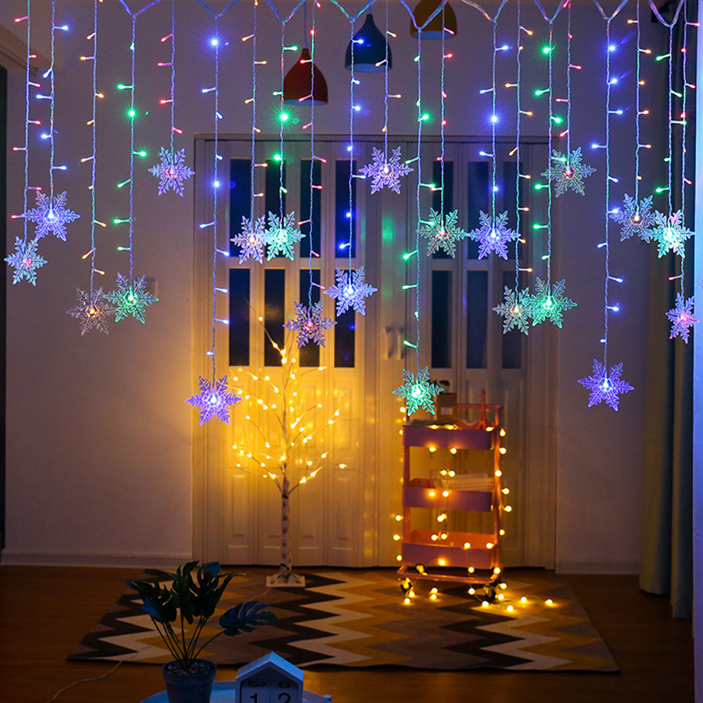 Colorful Snowflake LED String Lights Christmas Curtain Lights Flashing Lights Waterproof Outdoor Holiday Party Fairy Lights