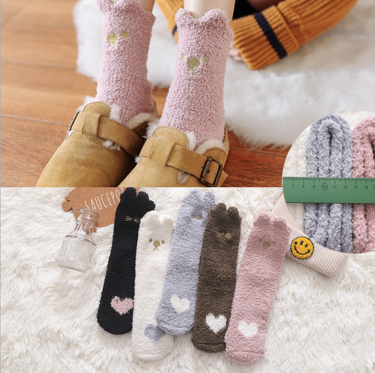 Embroidery love heat  Thickening women cotton Lovely Plush Keep Warm Sleep ladies funny cute Socks hosiery Winter kawaii