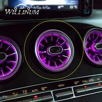 Luzes ambientais do carro para benz w205 glc c classe saída de turbina led lâmpada frente ar condicionado ventilação entrada console central iluminação