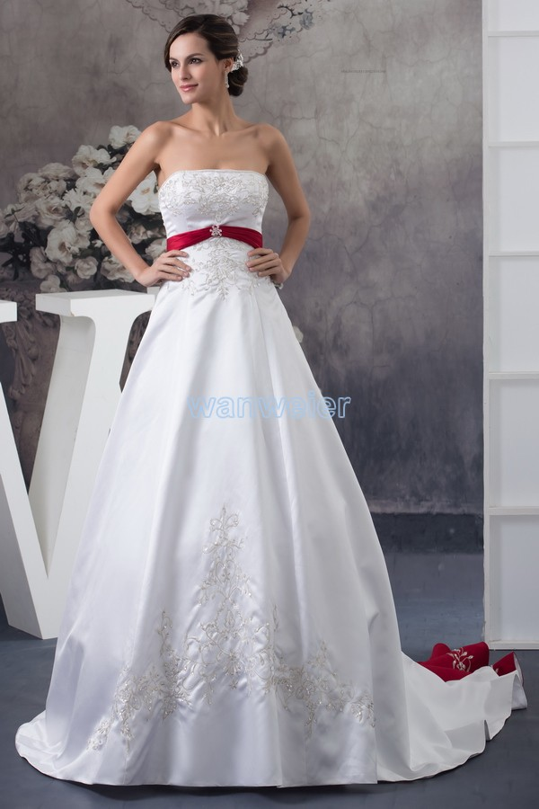 Free Shipping 2017 Design Hot Seller Custom Size/color Appliques Ball Gown Bridal Gown Plus Size Dress With Train Wedding Dress