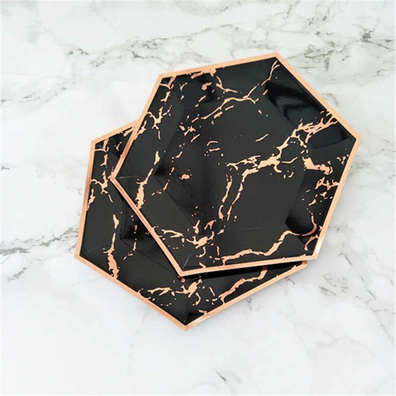 120pcs Marble PARTY Decor แผ่นขนมหวานขนาดใหญ่ 10 นิ้วนิ้ว Pink & Rose ฟอยล์จานกระดาษสีดำ Rose Gold วันเกิดพรรค Deocr